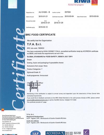 BRC Certif TFA