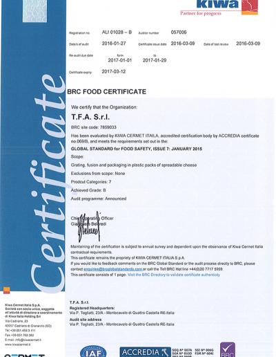 Certificato BRC 2016