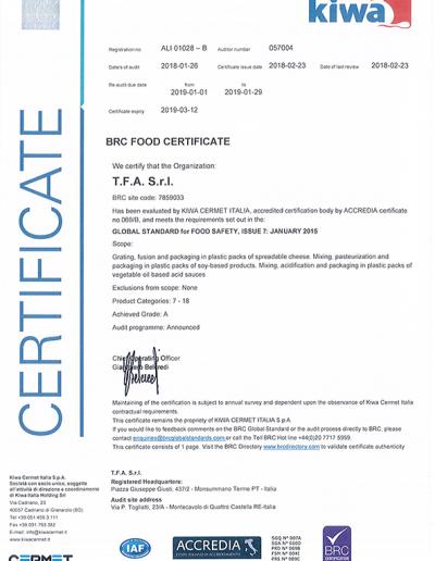 Certificato BRC