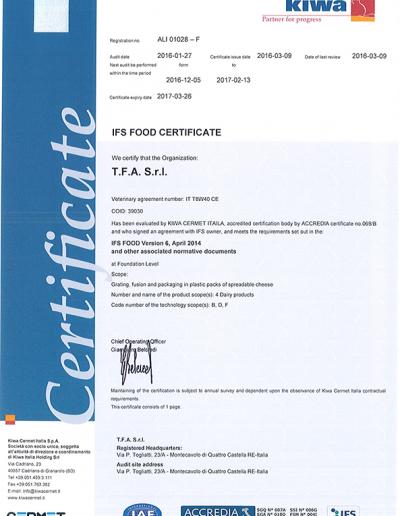 Certificato IFS 2016
